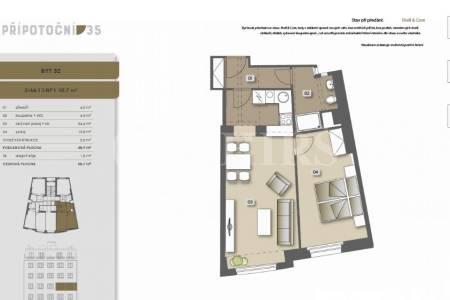 Prodej bytu 2+kk, 50 m2, ul. Přípotoční, Praha 10, Vršovice