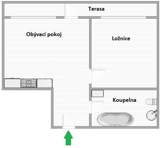 Prodej bytu 2+kk s terasou, OV, 40m2, ul. Werichova 1145/29, Praha 5 - Hlubočepy
