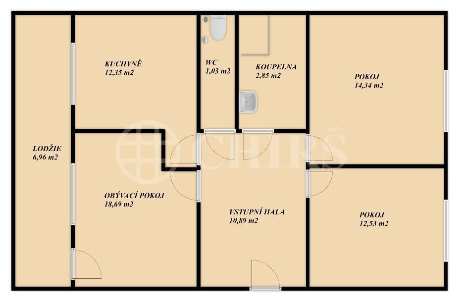 Prodej bytu 3+1 s lodžií, OV, 73m2, ul. Trávničkova 1779/35, Praha 5 - Stodůlky