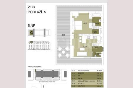 Prodej bytu 2+kk/T, OV, 52+ 46 m2, ul. Za Vokovickou vozovnou 4/257, P6 - Veleslavín