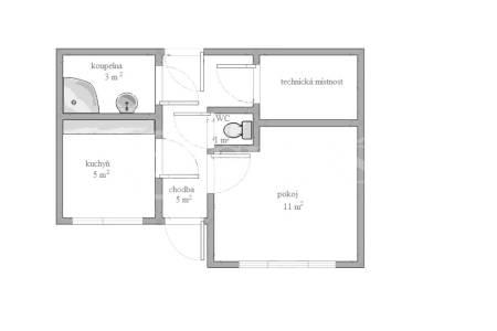 Pronájem bytu 1+1, OV, 25m2, ul. K Jezeru 466/50, Praha 11 - Háje