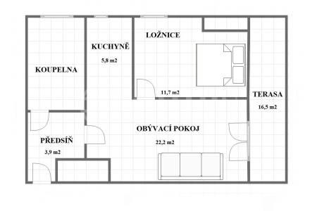 Prodej bytu 2+kk s terasou (č. 1.03), možnost dokoupit garáž. stání, 67 m2, ul. Bolívarova, P-6 Břevnov