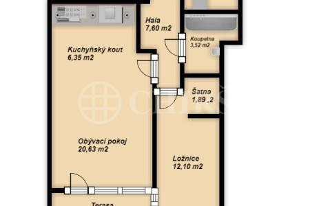 Pronájem bytu 2+kk s terasou, OV, 57m2, ul. Symfonická 1425/1, Praha 13 - Stodůlky