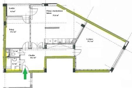 Prodej bytu 3+kk s balkonem a garážovým stáním, OV, 101m2, ul. Internacionální 1231/8, Praha 6 - Suchdol