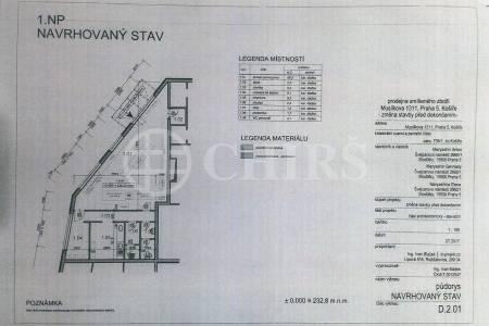 Pronájem komerčního objektu s garážovým stáním, OV, 84m2, ul. Musílkova 1311/5e, Praha 5 - Košíře