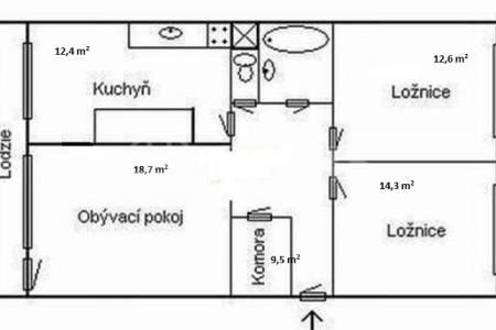 Pronájem bytu 3+1 s lodžií, DV, 73m2, ul. Píškova 1956/32, 155 00 Praha 5 - Stodůlky
