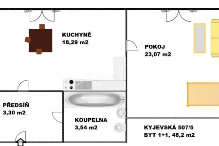 Prodej bytu 1+1, OV, 48 m2, ul. Kyjevská 507/5, Praha 6 - Dejvice